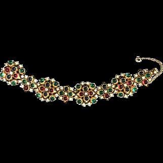 CINER Emerald, Sapphire, Ruby Cabochons & Diamante Maltese Cross Motif Link Bracelet