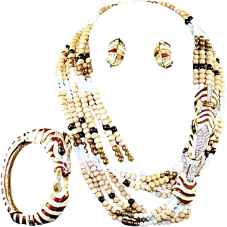CINER Enamel and Pave Multi-strand Beaded Zebra Necklace and Bangle Bracelet and Clip Earrings Set