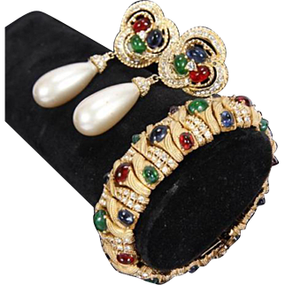 CINER 'Jewels of India' Simulated Ruby, Sapphire, Emerald, Diamond Linked Bracelet and Baroque Pearl Clip Earrings Set