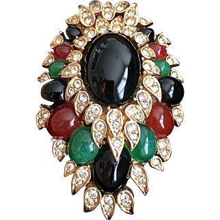 CINER Huge Jet, Carnelian, and Emerald Cabochons and Diamante Pin