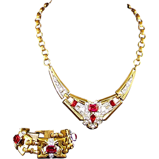 McCLELLAND BARCLAY Deco Ruby Red and Pave Crystal Linked Necklace and Bracelet Set