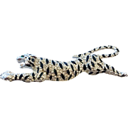 Black Enamel and Pave Rhinestones Leaping Leopard Pin