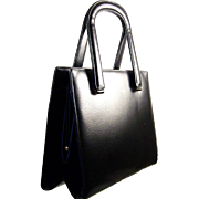 COBLENTZ ORIGINAL Black, Simulated Lizard, Genuine Leather Ladies Handbag with Coblentz Bergdorf Goodman Hand Mirror