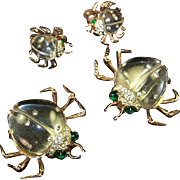 CORO Sterling 'Twinkling Twins' Pair of Jelly Belly and Pave Rhinestone Beetle Pins/Clips & Earrings