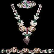 CORO 'Gene Verrecchio' Quivering Camellia Enamel and Rhinestone Necklace, Bracelet and Duette/Clips/Pins Set
