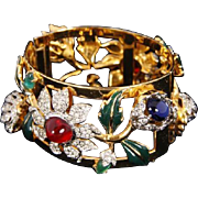 CORO CRAFT COROCRAFT 'Carmen Miranda' Enameled & Bejeweled Camellia Wide Bangle Bracelet