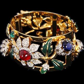 CORO CRAFT COROCRAFT 'Carmen Miranda' Enameled & Bejeweled Camellia Wide Bangle Bracelet
