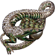CORO CRAFT COROCRAFT 'Adolph Katz' Sterling 'Jewels of Fantasy' Enamel and Pave 'Lizard Eating a Pearl Egg' Pin