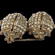 CORO CRAFT COROCRAFT 'Adolph Katz' Diamante Rhinestone Beetles Duette/Clips/Pins