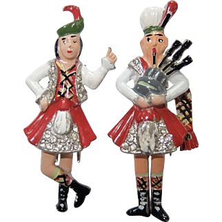 CORO 'Adolph Katz' Enamel and Pave Scottish Dancer and Bagpipe Player Clip/Pins