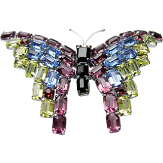 CZECH 'Made In Czechoslovakia' Deco Multi-color Crystal Butterfly Pin