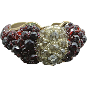 COPPOLA e TOPPO Ruby Red and Smoky Gray Crystal Beaded Cuff Bracelet