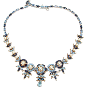 CHRISTIAN DIOR by Mitchell Maer Sapphire and Periwinkle Blue Crystals Simulated Pearls Necklace