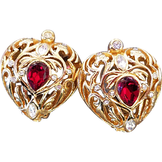 CHRISTIAN DIOR Ruby Red and Diamante Crystals Heart Clip Earrings