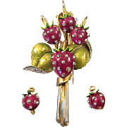 DeROSA De ROSA Enamel and Diamante Studded Strawberry Clip/Pin and Clip Earrings Set