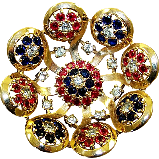 Ralph DEROSA De ROSA Simulated Ruby, Sapphire and Diamond Flowers Pin