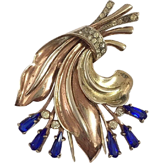 Ralph DEROSA De ROSA Sterling Sapphire/Azure Blue and Pave Rhinestones Floral Clip/Pin