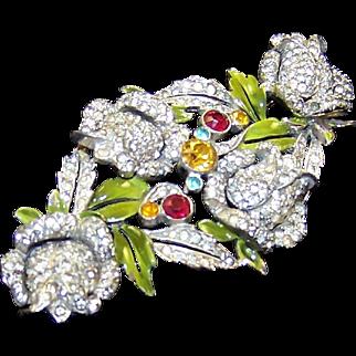 DU JAY DUJAY Large Enamel and Pave Roses Pin