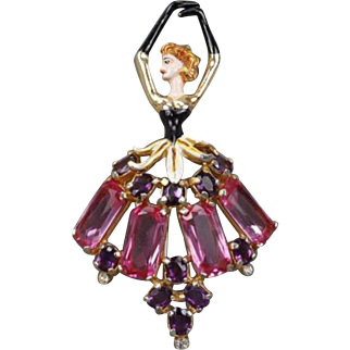 Rare, Large DUJAY DU-JAY or MOSELL (Unsigned) Enamel and Crystal Ballerina Pin