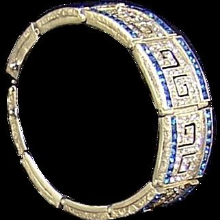Fishel Nessler Sterling Sapphire & Diamante Art Deco Bracelet