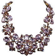 French Haute Couture Massive Vintage Runway Alexandrite Crystal 'MADE IN FRANCE' Necklace