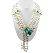 Haute Couture Massive Crystal and 'Pools of Light' Glass Bead 3-Strand Necklace