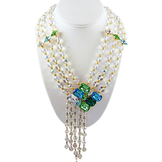 Haute Couture Massive Crystal and Glass Bead 3-Strand Necklace