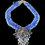 STANLEY HAGLER, NYC Cobalt/Royal Blue Aurora Borealis Crystals Multi-color Floral Pendant Necklace