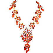 STANLEY HAGLER Persimmon Orange Glass Bead Floral Pendant Necklace