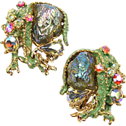 HAR Green Enamel 'Lava Rock' Aurora Borealis Crystals Dragon Clip Earrings