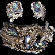 HAR 'Lava Rock' A.B. Fantasy Stone Whitewash Enamel Dragon Clamper Bracelet and Clip Earrings Set