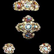 HAR Aurora Borealis Molded Glass Stones Clamper Bracelet, and Clip Earrings Set