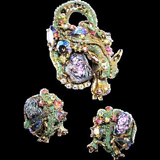 HAR 'Lava Rock' A.B. Fantasy Stone Green Enamel Dragon Pin and Clip Earrings Set