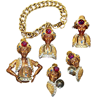 HAR Genie/Fortune Teller w/Lucite 'Crystal Ball' Pin, Clip Earrings, Scarf Pin/Holder and Charm Bracelet
