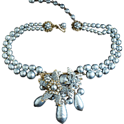 MIRIAM HASKELL 2-Strand Platinum Baroque Pearl Necklace