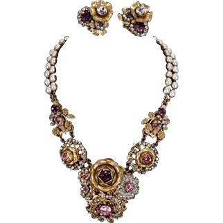 MIRIAM HASKELL Pink and Amethyst Floral Cluster 2-Strand Baroque Pearl Necklace and Clip Earrings Set