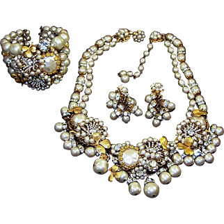 MIRIAM HASKELL Best Ever Baroque Pearl and Crystal Gilt Leaf 2-Strand Necklace, Cuff Bracelet, and Clip Earrings Set
