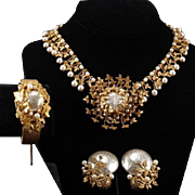 MIRIAM HASKELL Baroque Pearl Gilt Leaf Necklace, Bangle Clamper Bracelet, and French Clip Earrings Set