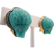 HATTIE CARNEGIE Faux Turquoise Lion's Heads Clip Earrings