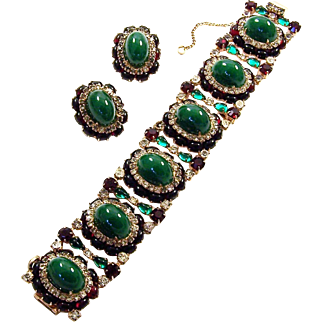 HATTIE CARNEGIE Emerald, Ruby, and Diamante Chunky Six Link Bracelet and Clip Earrings Set