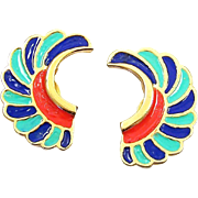 HATTIE CARNEGIE 'Egyptian Revival' Coral, Lapis, and Turquoise Enamel Clip Earrings