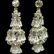 HATTIE CARNEGIE Austrian Crystal Chandelier Clip Earrings