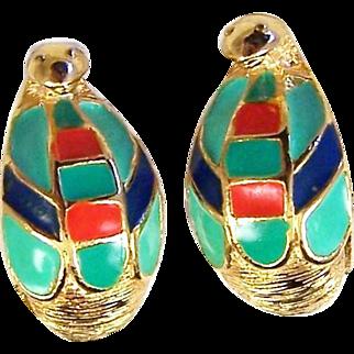 HATTIE CARNEGIE 'Egyptian Revival' Enamel Cobra Clip Earrings