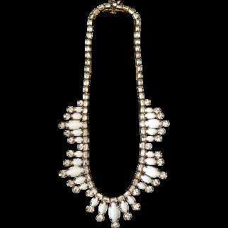HATTIE CARNEGIE White Milkglass and Diamante Rhinestones Necklace