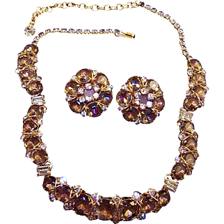 HATTIE CARNEGIE 'Jewels of Fantasy' Tourmaline/Watermelon and Diamante Crystals Necklace and Clip Earrings