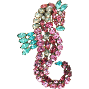 Rare HC HATTIE CARNEGIE 1940's Pink, Aqua, and Clear Crystal Seahorse Clip/Pin