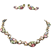 HOLLYCRAFT Multi-color Pastel Crystal Links Necklace and Clip Earrings Set
