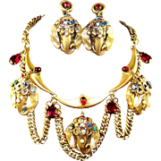 JOSEFF (of Hollywood) Bejeweled, Faux Pearl Raj 'Elephant Head' Swag Necklace and Clip Earrings Set