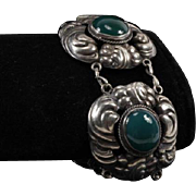 German 800 Silver Jugendstil Art Nouveau Bracelet with Green Chrysoprase Stones