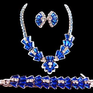 JULIANA D&E Sapphire Blue Keystones Crystals Necklace, Bracelet and Clip Earrings Set